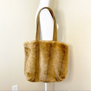 INC Faux Fur Tote Bag w/Faux Suede Straps